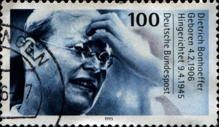 GERMANY - CIRCA 1995  A stamp printed in the Germany shows Dietrich Bonhoeffer, Protestant Theologian, participant of German resistance movement against Nazism and executed in April 1945, circa 1995