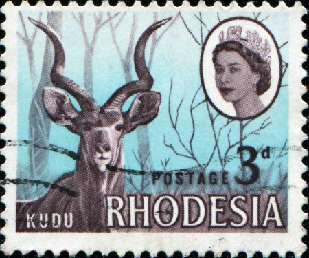 SOUTHERN RHODESIA - CIRCA 1964  A stamp printed in Southern Rhodesia shows Kudu, circa 1964
