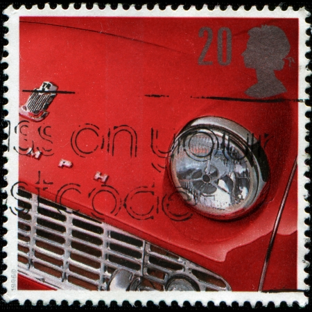 UNITED KINGDOM - CIRCA 1996  A stamp printed in the United Kingdom shows image of the front end of a Triumph automobile, circa 1996