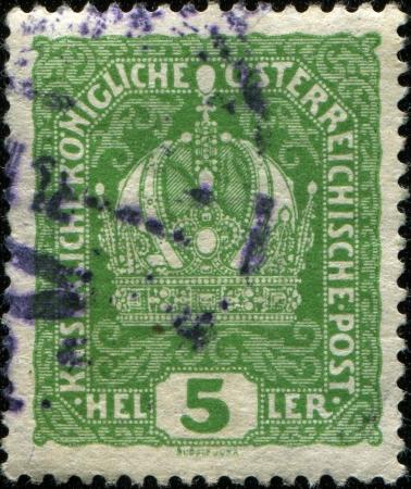 AUSTRIA - CIRCA 1916  A stamp printed in Austria shows Austrian Imperial Crown, circa 1919 Stock Photo - 14147166