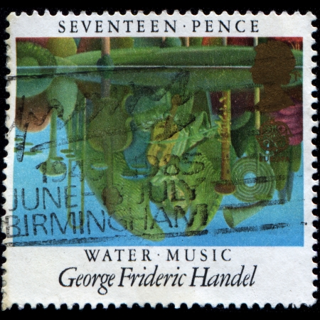 GREAT BRITAIN - CIRCA 1985  A stamp printed in the Great Britain shows Reflections in Pool, Water Music by George Frideric Handel, circa 1985