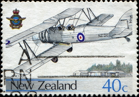 NEW ZEALAND - CIRCA 1987  A stamp printed in New Zealand shows plane Avro 626 Wigram Air Base, circa 1987  Stock Photo - 14147134