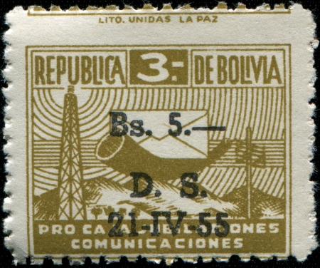 posthorn: BOLIVIA - CIRCA 1944  A stamp printed in Bolivia shows Posthorn and Envelope, circa 1944