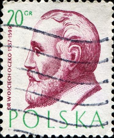 dr: POLAND - CIRCA 1957  A stamp printed in Poland shows Dr Wojciech Oczko 1537-1599, Polish Doctorsseries, circa 1957
