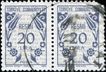 arabic numeral: TURKEY - CIRCA 1983  A stamp printed in Turkey shows turkish flower