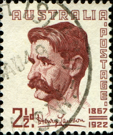 lawson: AUSTRALIA - 1949  A stamp printed in the Australia shows Henry Lawson, best-known Australian poet and fiction writer, 1949