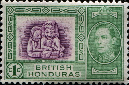 BRITISH HONDURAS - CIRCA 1938  A stamp printed in British Honduras shows Maya Figures, circa 1938