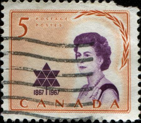 CANADA - CIRCA 1967  A stamp printed in Canada shows Elizabeth II, circa 1967  Stock Photo - 14147167
