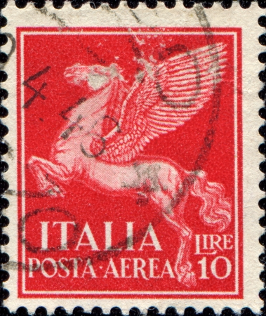 ITALY - CIRCA 1930  A stamp printed in Italy, shows pegasus, circa 1930