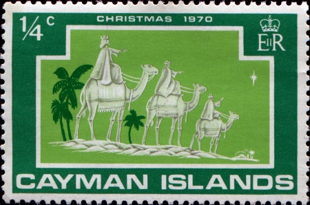 CAYMAN ISLANDS - CIRCA 1970  A greeting Christmas stamp printed in Cayman Islands shows three kings, circa 1970