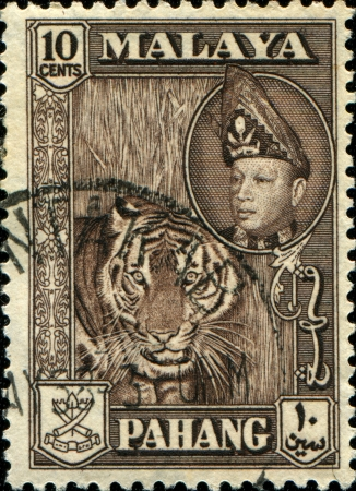 malaya: MALAYA - CIRCA 1957-61  A stamp printed in state of Pahang in the East Coast Region of Malaya shows tiger and Sultan Abu Bakar, series, circa 1957-61