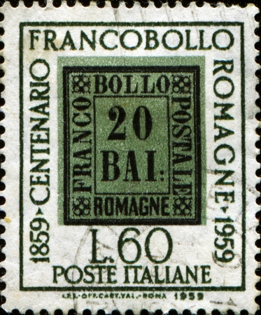 centenary: ITALY - CIRCA 1959  A stamp printed in Italy  HONORING 1859 Stamp Centenary Romagne, circa 1959