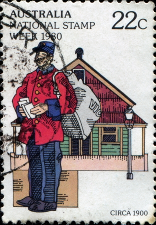 AUSTRALIA - CIRCA 1980  A stamp printed in Australia shows postman, circa 1980  Stock Photo - 14147092
