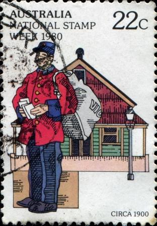 AUSTRALIA - CIRCA 1980  A stamp printed in Australia shows postman, circa 1980  Stock Photo - 14147092