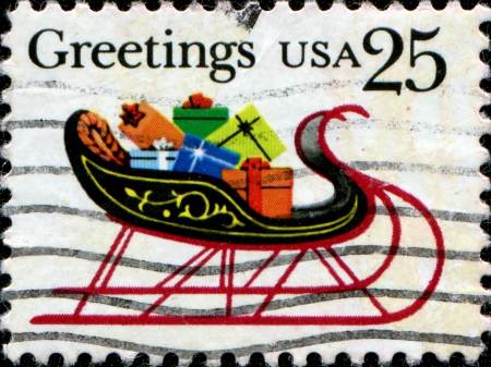 UNITED STATES OF AMERICA - CIRCA 1989  a stamp printed in the USA shows sleigh with gifts, Christmas, circa 1989