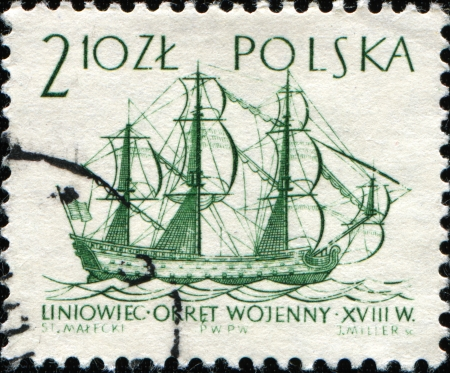 POLAND - CIRCA 1963  A post stamp printed in Poland  shows Ship of the line,18th century, circa 1963 photo