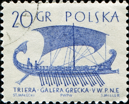 POLAND - CIRCA 1963  A post stamp printed in Poland  shows ancient greek sailing ship galley -triera, circa 1963  Stock Photo - 14149421