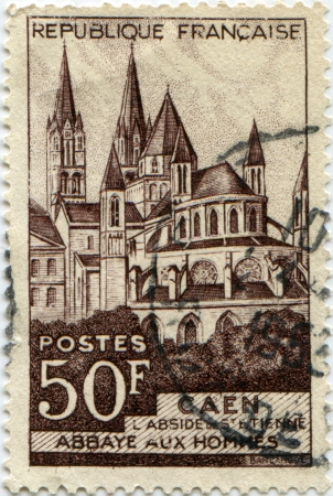 FRANCE - CIRCA 1951  A stamp printed in France  shows Abbaye aux, Hommes, Caen, circa 1951 Stock Photo - 14149392