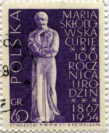 POLAND - CIRCA 1967  A stamp printed in Poland celebrates first centenarian of Maria Curie birth Stock Photo - 14147959
