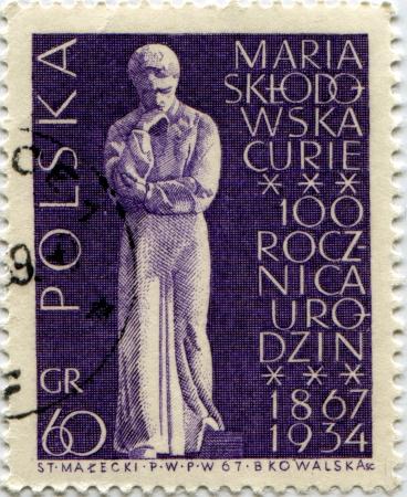 centenarian: POLAND - CIRCA 1967  A stamp printed in Poland celebrates first centenarian of Maria Curie birth