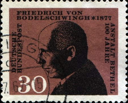 GERMANY - CIRCA 1967  A stamp printed in Germany shows Friedrich von Bodelschwingh, circa 1967