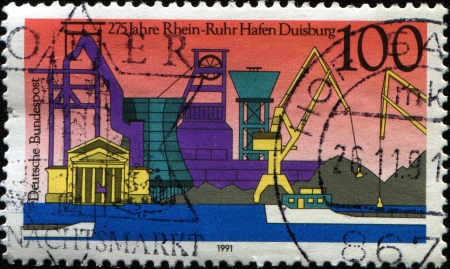 GERMANY - CIRCA 1991  A stamp printed in Germany, is dedicated to the 275th anniversary of the Rhine-Ruhr Harbor, Duisburg, circa 1991  Stock Photo - 14149387