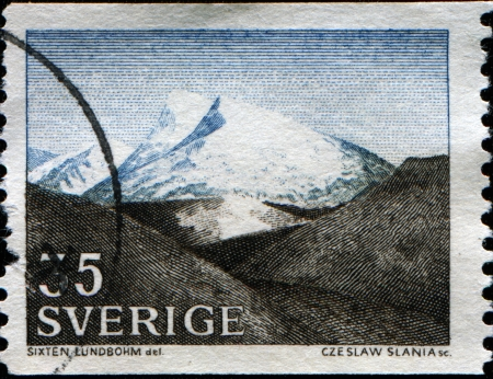 """SWEDEN - CIRCA 1967  A stamp printed in Sweden, shows """"The Fjeld,"""" by Sixten Lundbohm, circa 1967 Stock Photo - 14149460"""