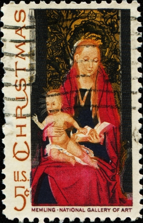 memling: USA -CIRCA 1966  A stamp printed in USA shows the picture of the Virgin Mary and baby Jesus in her lap  The original image was from mid 1488-1490 - a painting named Madonna and Child  Circa 1966  Stock Photo