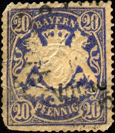 bayern: BAYERN - CIRCA 1867  A stamp printed in Bayern shows Bayern coat of arms, circa 1867