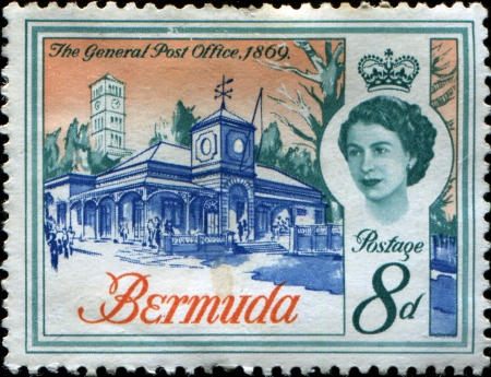 BERMUDA - CIRCA 1962  A stamp printed in Bermuda shows General Post Office, 1869, circa 1962