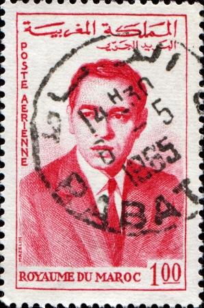 MOROCCO - CIRCA 1962  A stamp printed in Morocco shows  king of Morocco Hassan II, circa 1962  Stock Photo - 14147949