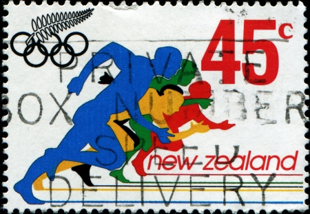 NEW ZEALAND - CIRCA 1992  A stamp printed in New Zealand shows Runners at Summer Olympics in Barcelona, circa 1992