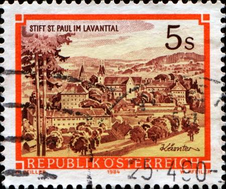 AUSTRIA - CIRCA 1984  A stamp printed in Austria shows Monastery St Paul in Lavanttal, circa 1984  Stock Photo - 14150492