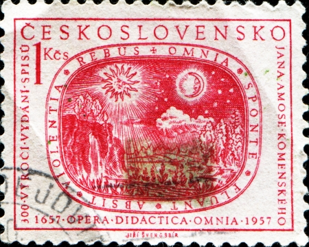 CZECHOSLOVAKIA - CIRCA 1957  A stamp printed in Czechoslovakia devoted 300th anniversary of the publication of  Didactica Opera Omnia , circa 1957  Stock Photo