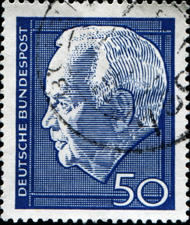 theodor: GERMANY - CIRCA 1954  A stamp printed in Germany shows President Theodor Heuss, circa 1954