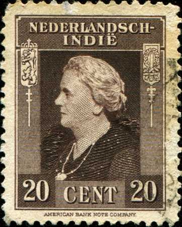wilhelmina: DUTCH EAST INDIES - CIRCA 1945  A stamp printed in the Netherlands Indies shows image of Queen Wilhelmina of the Netherlands, circa 1945 Editorial