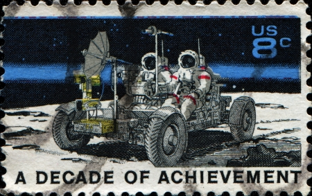 decade: UNITED STATES OF AMERICA - CIRCA 1971  A stamp printed in USA dedicated to United States in Space, A decade of achievement, circa 1971