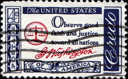 mount price: USA - CIRCA 1960   A postcard printed in the USA with text  Observe good faith and justice toward all nations, G Washington - American Credo, circa 1960