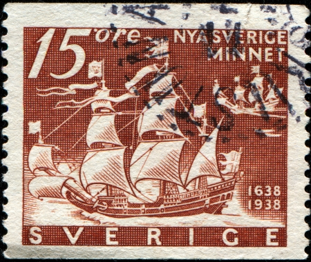 emigrant: SWEDEN - CIRCA 1938  A stamp printed in Sweden honoring 300th Anniversary of Founding of New Sweden, U S A , shows  Emigrant ships Calmare Nyckel and Fagel Grip, circa 1938