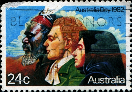 AUSTRALIA - CIRCA 1982  A stamp shows image of a Australian Aborigines and English messioner, circa 1982  Stock Photo - 14148010
