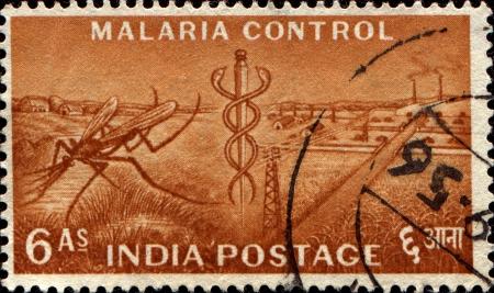 aesculapius: INDIA - CIRCA 1955 Un sello impreso en la India en honor de Control de la Malaria, muestra de mosquitos y el personal de Esculapio, el Plan Quinquenal de la serie, alrededor del a�o 1955