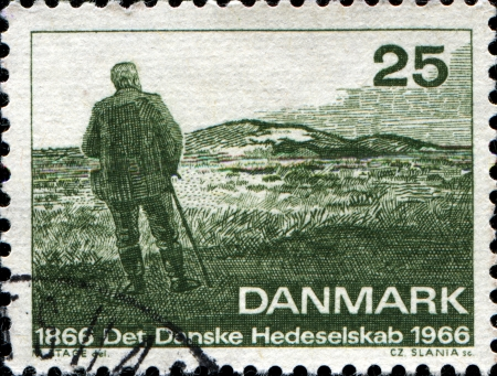 heathland: DENMARK - CIRCA 1966  A stamp printed in Denmark honoring Centenary of Danish Heath Society, Heathland, circa 1966 Stock Photo