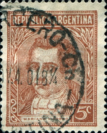 mariano: ARGENTINA - CIRCA 1935  A stamp printed in the Argentina shows Mariano Moreno, circa 1935