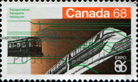 CANADA - CIRCA 1986  A stamp printed in Canada shows railway transport, circa 1986 photo