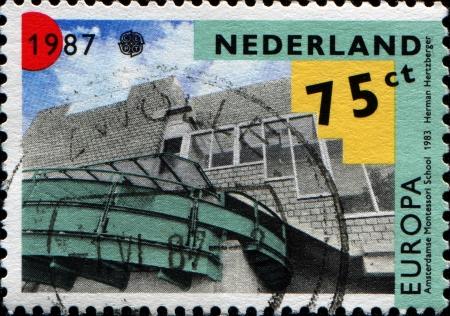 herman: NETHERLANDS - CIRCA 1987  a stamp printed in the Netherlands shows Architecture, Montessori School, Amsterdam  Herman Hertzberger , circa 1987