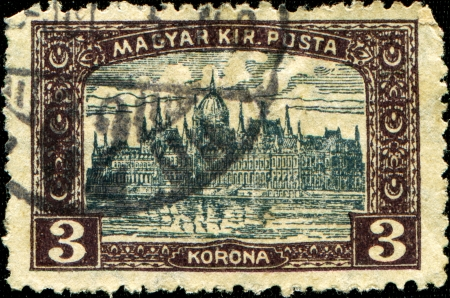danuba: HUNGARY - CIRCA 1920  A stamp printed in Hungary shows Parliament building in Budapest, circa 1920