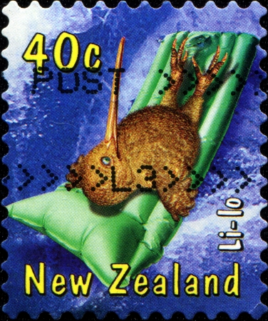 lilo: NEW ZEALAND - CIRCA 199  A  stamp printed in New Zealand shows Li-lo from cartoon Kiwiana II, circa 1994