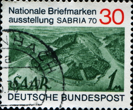 saar: GERMANY - CIRCA 1970  A stamp printed in Germany shows landscape Saar, circa 1970