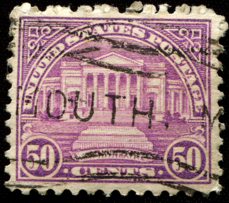 UNITED STATES OF AMERICA - CIRCA 1931  A stamp printed in USA shows Arlington Amphitheater, circa 1931 Stock Photo - 14149642