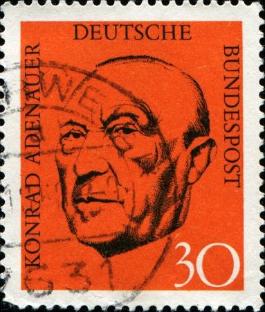 GERMANY - CIRCA 1968  A stamp printed in German Federal Republic show Chancellor Konrad Adenauer, circa 1968 Stock Photo - 14147965